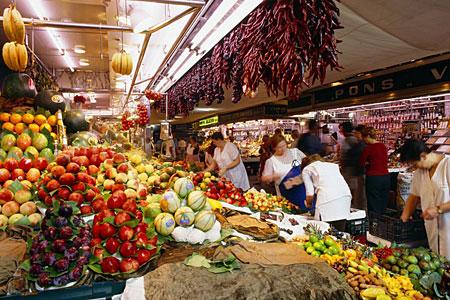 Mercado La Boqueria en Barcelon Ramblas